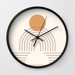 Geometric Lines in Terracotta Gold Beige 5 (Sun and Rainbow) Wall Clock