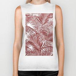 Tropical marsala red faux glitter palm tree pattern Biker Tank