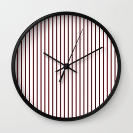 Royal Rose Red Pinstripe on White Wall Clock