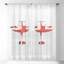 World War 2 Fighter Union Jack Silhouette Sheer Curtain