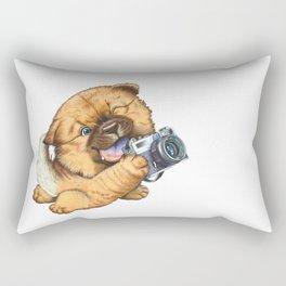 A little dog holding a camera Rectangular Pillow