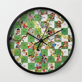 Vintage snakes and ladders Wall Clock