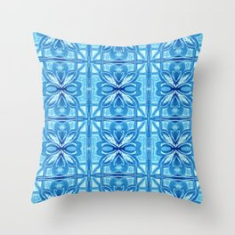 Mediterranean Breeze - Blue Moroccan Tile Throw Pillow