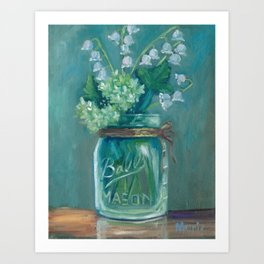 Jar of Lilies of the valley Art Print