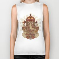 valentina Biker Tanks featuring Ganesha: Lord of Success by Valentina Harper