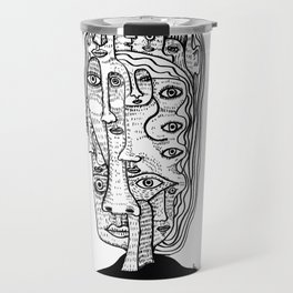 lady of Many Faces Travel Mug
