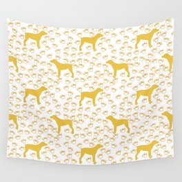 Big Yellow Dog and Paw Prints Wall Tapestry