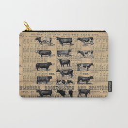 Vintage 1896 Cows Study on Antique Lancaster County Almanac Carry-All Pouch