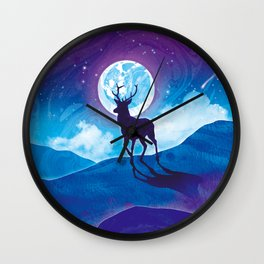 Moonlit Stag Wall Clock