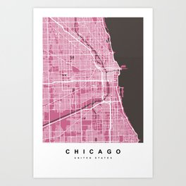 Chicago Map | Pink & Brown Colors Art Print