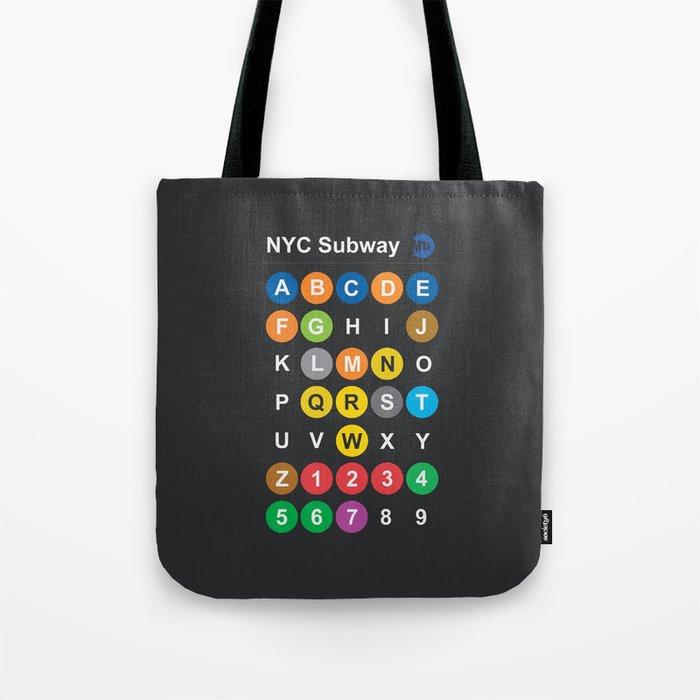New York City subway alphabet map, NYC, lettering illustration, dark version, usa typography Tote Bag