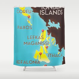 ionian Islands map Shower Curtain