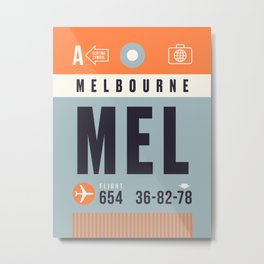 Baggage Tag A - MEL Melbourne Tullamarine Australia Metal Print