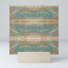 Rustic Wood - Beautiful Weathered Wooden Plank - knotty wood weathered turquoise paint Mini Art Print