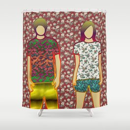 GIRL AND BOY FLOWERS ART Shower Curtain