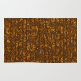 Broken Blue Stripes and Brown Cross Hatch Pattern Rug