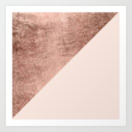 Minimalist blush pink rose gold color block geometric Art Print