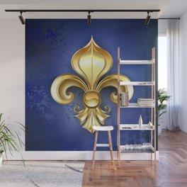 Gold Fleur De Lis on a Blue Background Wall Mural