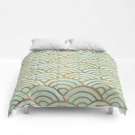 Japanese Seigaiha Wave – Mint & Copper Palette Comforters