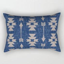 Southwestern Arrow Pattern 237 indigo and Beige Rectangular Pillow