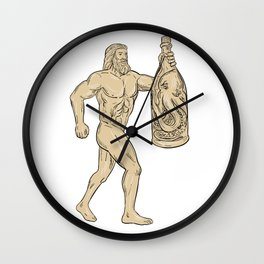 Hercules With Bottled Up Angry Octopus Drawing Wall Clock