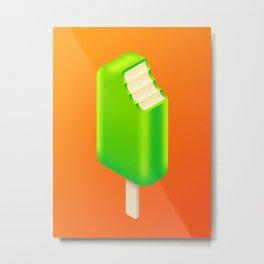 Ice Cream Stick Isometric - Lime Tang Metal Print