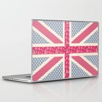 england Laptop & iPad Skins featuring England Love by Pink Berry Patterns