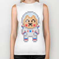 8bit Biker Tanks featuring 8Bit Astrobear by Bear Picnic