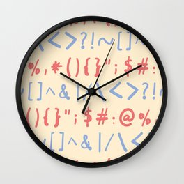 Type Marks and Signs Pattern Wall Clock
