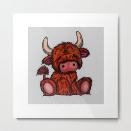 Cuddly Highland Cattle Metal Print