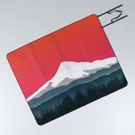 Mount Hood Winter Forest - Sunset Picnic Blanket