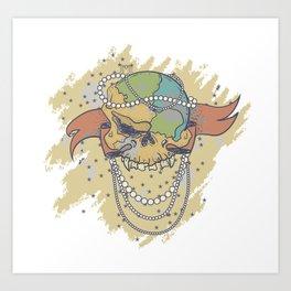 Pearled Skullworld Art Print