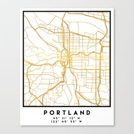 PORTLAND OREGON CITY STREET MAP ART Canvas Print