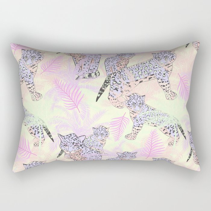 Blush pink lavender ivory tropical leopard pattern Rectangular Pillow
