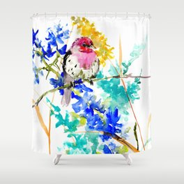 House Finch and Wildflowers Shower Curtain
