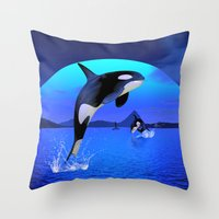 orca Throw Pillows featuring Orca by Simone Gatterwe