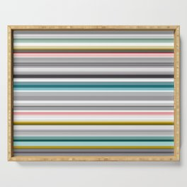 grey and colored stripes Serving Tray