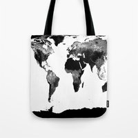 world map Tote Bags featuring World Map  Black & White by WhimsyRomance&Fun