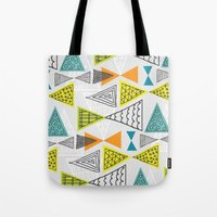 mid century modern Tote Bags featuring Geometric Mid Century Modern  Triangles by Ryan Deighton