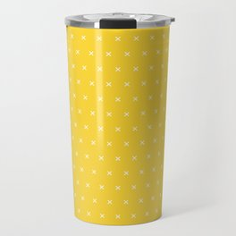 Yellow and white cross sign pattern Travel Mug