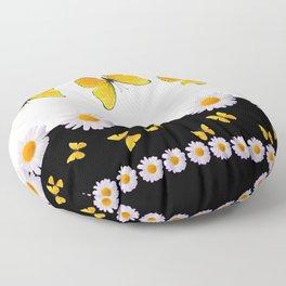 BLACK MODERN ART YELLOW BUTTERFLIES & WHITE DAISIES  ABSTRACT Floor Pillow