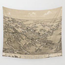 Vintage Pictorial Map of Guilford CT (1881) Wall Tapestry
