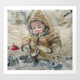 A child on a walk Print Original Oil Painting on Canvas Art Print