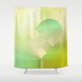 Danish Heart Mint Gold Shower Curtain