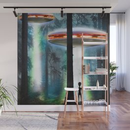 UFO Alien Forest / Flying Saucers Wall Mural