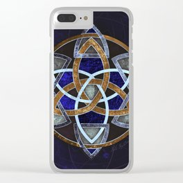 Golden Triskelion Mandala Clear iPhone Case