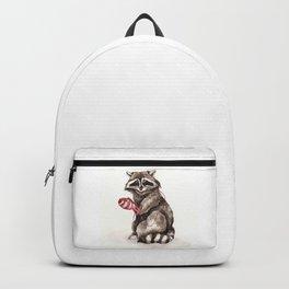 Pensive Raccoon in Red Mittens. Winter Season. Backpack
