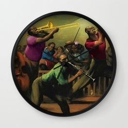 'Jazz on a High Night' African American Harlem Masterpiece by Robert Riggs Wall Clock