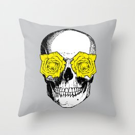 Skull and Roses | Skull and Flowers | Vintage Skull | Grey and Yellow | Throw Pillow
