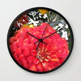 Garden Blooms - Red Wall Clock